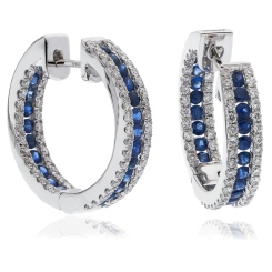 HERGBS287 Blue Sapphire Microset Designer Hoop Earrings - white