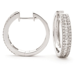 HER180 Round cut Diamond Hoop Earrings - white