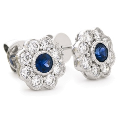 HERGBS266 Designer Floral Shape Blue Sapphire Halo Earrings - white