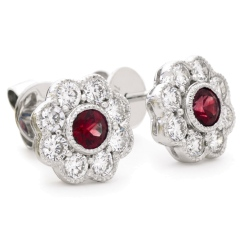 HERGRY267 Designer Floral Shape Ruby Halo Earrings - white