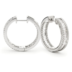 HER159 Round & Baguette Designer Drop Earrings - white