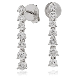 HER236 Linear Diamond Journey Earrings - white