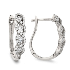 HER183 Designer Diamond Round  & Baguette cut Hoop Earrings - white