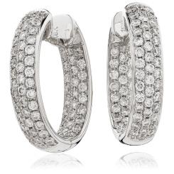 HER184 Designer Diamond Round cut Hoop Earrings - white