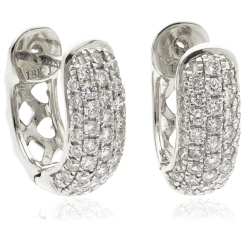 HER186 Round cut Designer Diamond Hoop Earrings - white