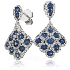 HERGBS288 Blue Sapphire Cluster Drop Earrings - white