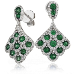 HERGEM289 Emerald Gemstone Cluster Drop Earrings - white