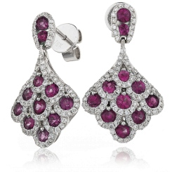 HERGRY290 Ruby Gemstone Cluster Drop Earrings - white