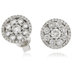 HERCL133 Designer Big Cluster Diamond Earrings in 18K White Gold - 0.80ct, VS clarity, FG colour - white