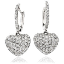 HERCL240 Heart Shape Brilliant cut Cluster Earrings - white