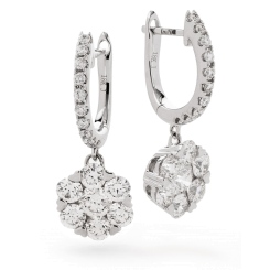 HERCL238 Brilliant cut Diamond Cluster Earrings in 18K White Gold - 1.50ct, VS clarity, FG colour - white