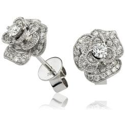HERCL137 Designer Floral Cluster Diamond Earrings - white