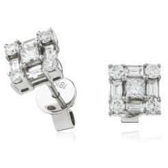 HEPCL138 Designer Princess Cluster Diamond Earrings - white