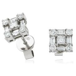HEPCL138 Designer Princess Cluster Diamond Earrings - white