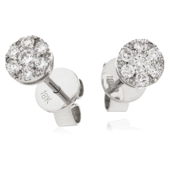 HERCL140 Design Brilliant Cut Cluster Diamond Earrings - white