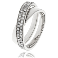 HRRCT978 Cross Wave Round cut Cocktail Diamond Ring - white