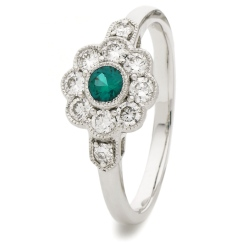 HRRGEM1065 Deco Round Emerald & Diamond Cluster Ring - white