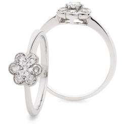 HRRCL957 Designer Cluster Round cut Diamond Ring - white