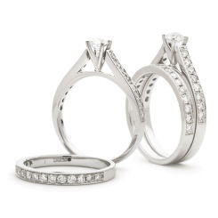 HRRBS891 High set Round cut Diamond Bridal Set Rings - white