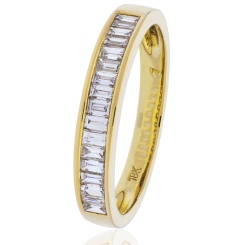 HRBHE1007 Classic Baguette Half Eternity Diamond Ring in 18K Yellow Gold - 0.75ct, VS clarity, FG colour - yellow