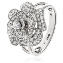 HRRCL944 Floral Round cut Cluster Cocktail Diamond Ring - white