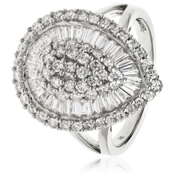 HRRCL931 Round &  Baguette Pear Shaped Halo Cluster Diamond Ring - white