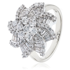 HRRCL933 Round & Baguette Spiral Cluster Diamond Ring - white