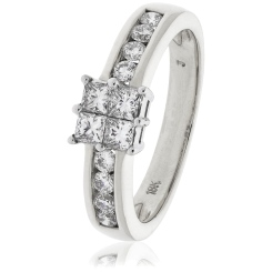 HRPCL894 Four Princess cut Cluster with Side Stones Diamond Ring - white