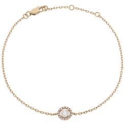 HBRDR032 Designer Halo Delicate Diamond Bracelet - rose