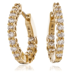 HER149 Round Hoop Diamond Earrings - rose