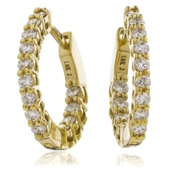 HER149 Round Hoop Diamond Earrings - yellow