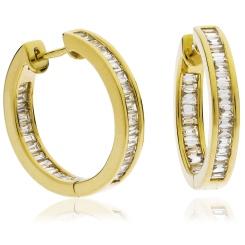 HEE154 Baguette cut Drop Diamond Earrings - yellow