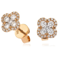 HERCL107 Quad Circle Round cut Cluster Diamond Earrings - rose