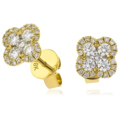 HERCL107 Quad Circle Round cut Cluster Diamond Earrings - yellow