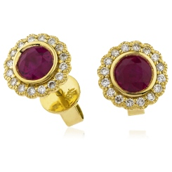 HERGRY262 Round Cut Ruby Single Halo Earrings - yellow