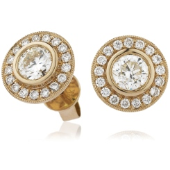 HER143 Designer Edge Halo Diamond Earrings - rose