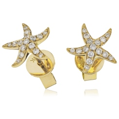 HERCL108 Round cut Star Diamond Earrings - yellow