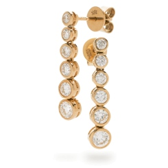 HER211 Brilliant cut Diamond Journey Earrings - rose
