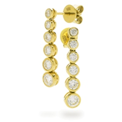 HER211 Brilliant cut Diamond Journey Earrings - yellow