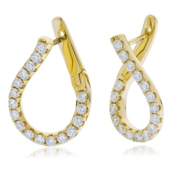 HER152 Brilliant cut Drop Diamond Earrings - yellow