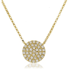 HPRDR117 Round cut Circle Cluster Diamond Pendant - yellow