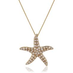 HPRDR119 Round cut Star Diamond Pendant - rose