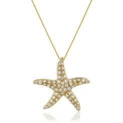 HPRDR119 Round cut Star Diamond Pendant - yellow