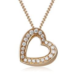 HPRDR204 Delicate Channel set Round cut Diamonds Heart Pendant - rose