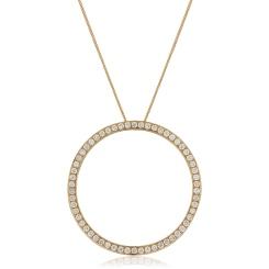 HPRDR123 Circle of Life Micro set Round cut Diamond Pendant - rose