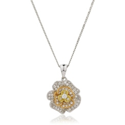 HPRDR136 Blooming Flower Round cut Designer Diamond Pendant - yellow