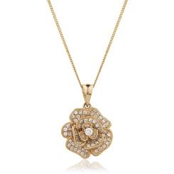 HPRDR136 Blooming Flower Round cut Designer Diamond Pendant - rose