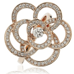 HRRCL893 Round cut Flower Shaped Cocktail Diamond Ring - rose