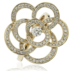 HRRCL893 Round cut Flower Shaped Cocktail Diamond Ring - yellow