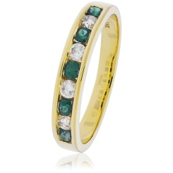 HRRGEM995 Emerald Gemstone & Diamond Eternity Ring - yellow